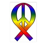 Rainbow Peace Ribbon Postcards (Package of 8)