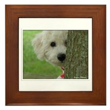 Cute Personalized dog bichon Framed Tile