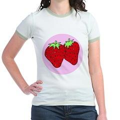 Sweet Strawberries Ladies & Junior Ringer T Shirt