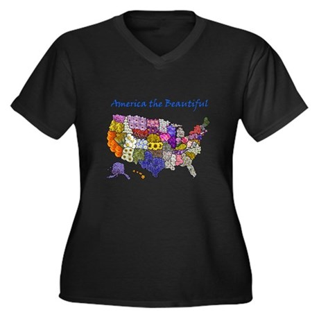 Flowers of the States Women's Plus Size V-Neck Dar