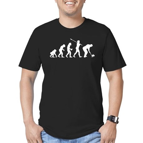 Curling Player Men's Fitted T-Shirt (dark)