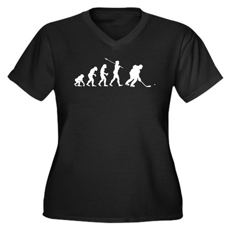 Ice Hockey Player Women's Plus Size V-Neck Dark T-