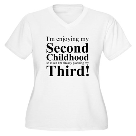 Third Childhood Women's Plus Size V-Neck T-Shirt