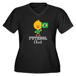 Brazil Soccer Futebol Chick Women's Plus Size V-Ne