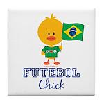 Brazil Soccer Futebol Chick Tile Coaster
