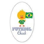 Brazil Soccer Futebol Chick Sticker (Oval)