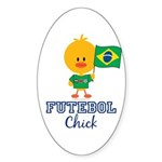 Brazil Soccer Futebol Chick Sticker (Oval 50 pk)