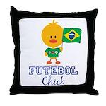 Brazil Soccer Futebol Chick Throw Pillow