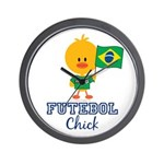 Brazil Soccer Futebol Chick Wall Clock