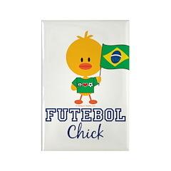 Brazil Soccer Futebol Chick Rectangle Magnet