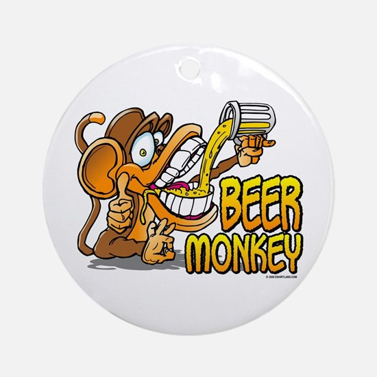 Beer Monkey @ eShirtLabs.Com Ornament (Round)