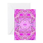 Pink Butterflies Greeting Cards (Pk of 10)