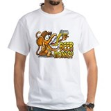 Drunk monkey Mens White T-shirts