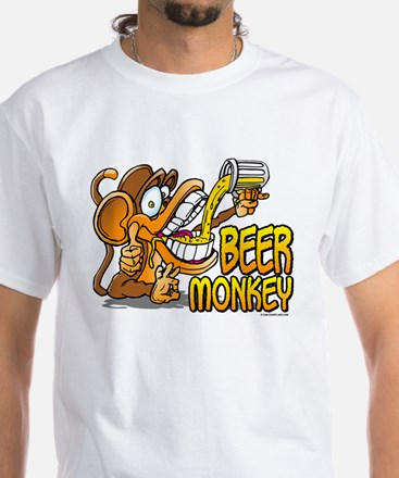 Beer Monkey @ eShirtLabs.Com White T-Shirt