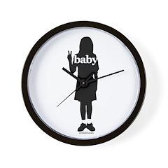 Peace Baby Girl Gear Wall Clock