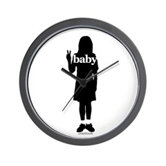 Peace Baby Girl Gear Wall Clock