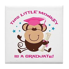 Girl Monkey Graduate Tile Coaster