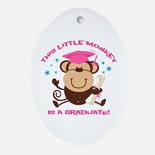 Girl Monkey Graduate Ornament (Oval)