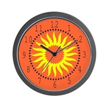 Yellow Sunburst Wall Clock