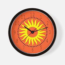 Yellow Sunburst Wall Clock