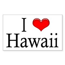 I Heart Hawaii Rectangle Decal