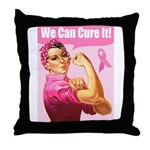 Rosie the Riveter Breast Canc Throw Pillow