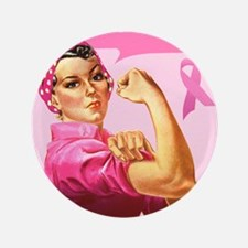 """Rosie the Riveter Breast Canc 3.5"""" Button (100 pac"""