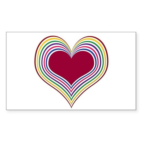 Colorful Heart Rectangle Sticker