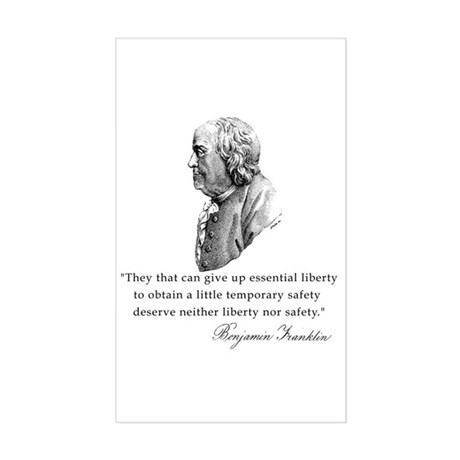 Ben Franklin Liberty Quote Rectangle Sticker