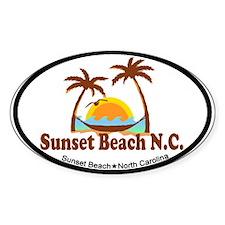 Sunset Beach NC - Sun and Palm Trees Design Sticke