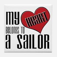 Heart Belongs Sailor Tile Coaster