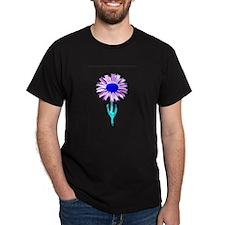 Daisy Flower Black T-Shirt