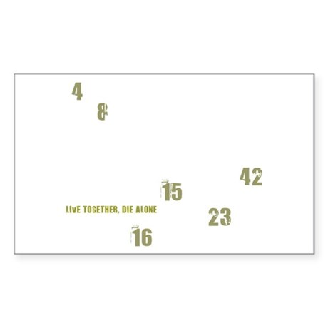 LOST numbers army green Sticker (Rectangle)