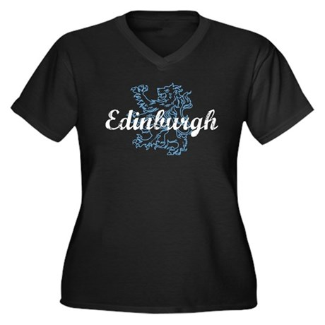 Edinburgh Scotland Women's Plus Size V-Neck Dark T