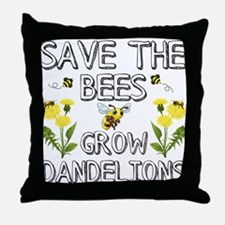 Save The Bees Grow Dandelions Throw Pillow