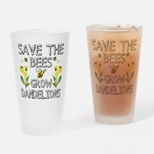 Save The Bees Grow Dandelions Drinking Glass