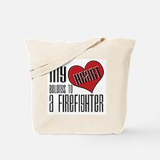 Heart Belongs Firefighter Tote Bag