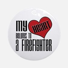 Heart Belongs Firefighter Ornament (Round)