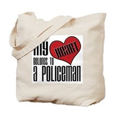 Heart Belongs Policeman Tote Bag