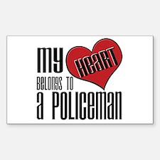 Heart Belongs Policeman Rectangle Decal