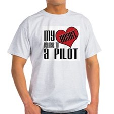 Heart Belongs Pilot Ash Grey T-Shirt