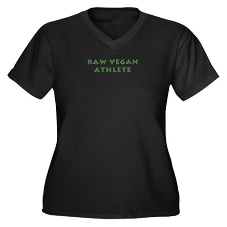 Raw Vegan Athlete Women's Plus Size V-Neck Dark T-