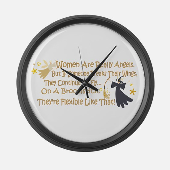 Women Are Like Angels Large Wall Clock