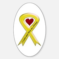 Yellow Ribbon Love Miss Airman Oval Decal