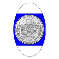 Nevada State Quarter Gear Oval Decal