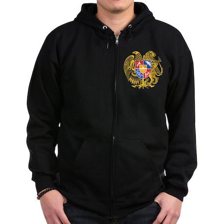 Armenia Coat of Arms (Front) Zip Hoodie (dark)