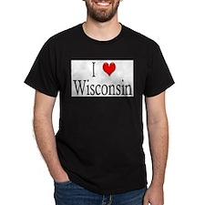 I Heart Wisconsin Black T-Shirt