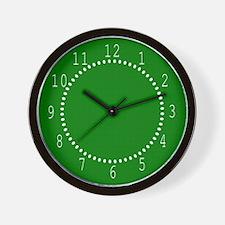 Dark Green Linen Look Wall Clock
