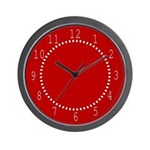 Red Linen Look Wall Clock