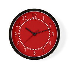 Red Linen Look Wall Clock